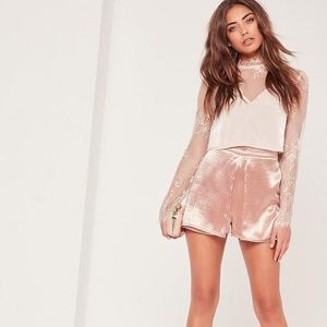 Missguided Hammered Satin Overlay Dressy Shorts